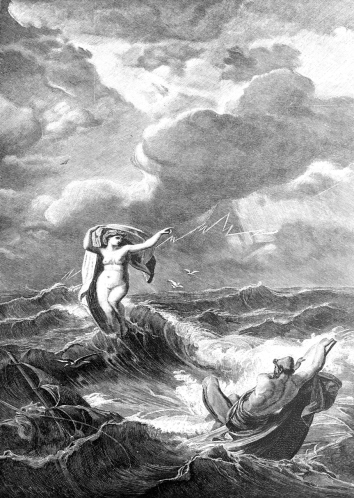 Odysseus and Leukothea on the ocean