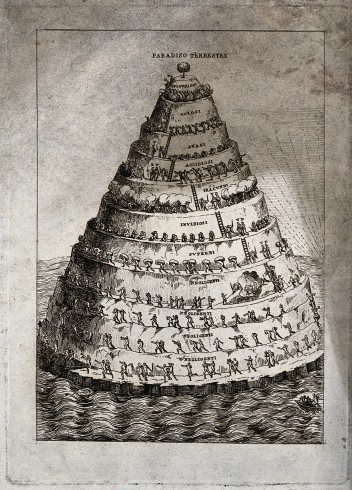 V0047947 A cone-shaped mountain rises out of the sea, crowned by a tr